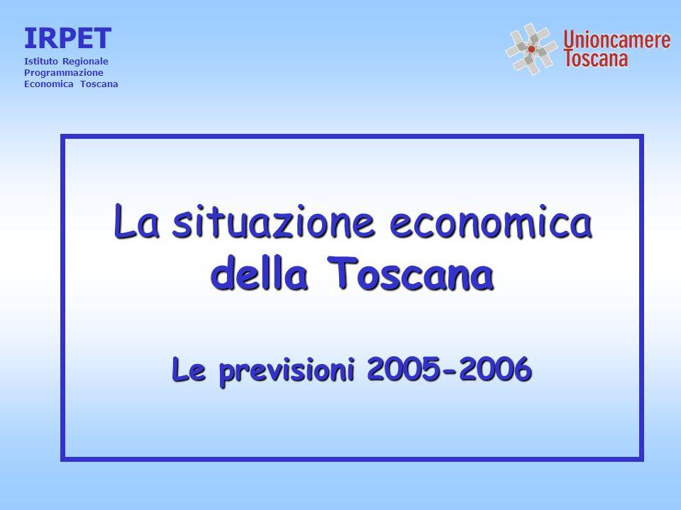 La situazione economica della Toscana Le previsioni 2005-2006 IRPET Istituto Regionale Programmazione Economica Toscana