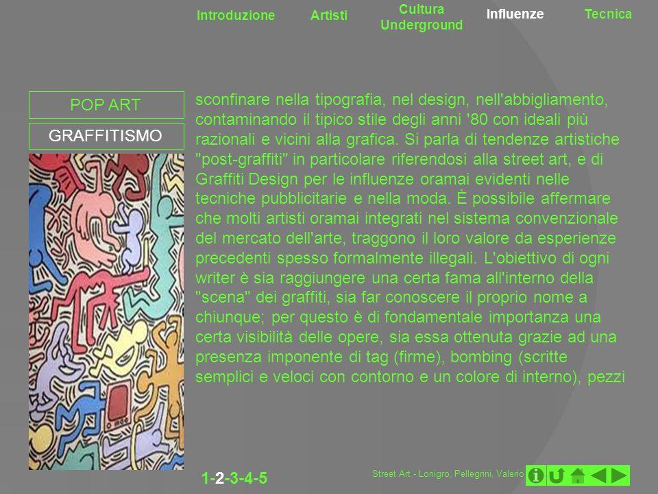Introduzione Artisti Cultura Underground InfluenzeTecnica POP ART GRAFFITISMO sconfinare nella tipografia, nel design, nell'abbigliamento, contaminand