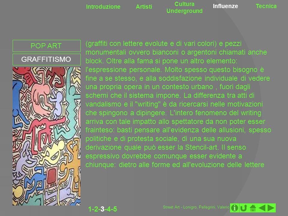 Introduzione Artisti Cultura Underground InfluenzeTecnica POP ART GRAFFITISMO (graffiti con lettere evolute e di vari colori) e pezzi monumentali ovve