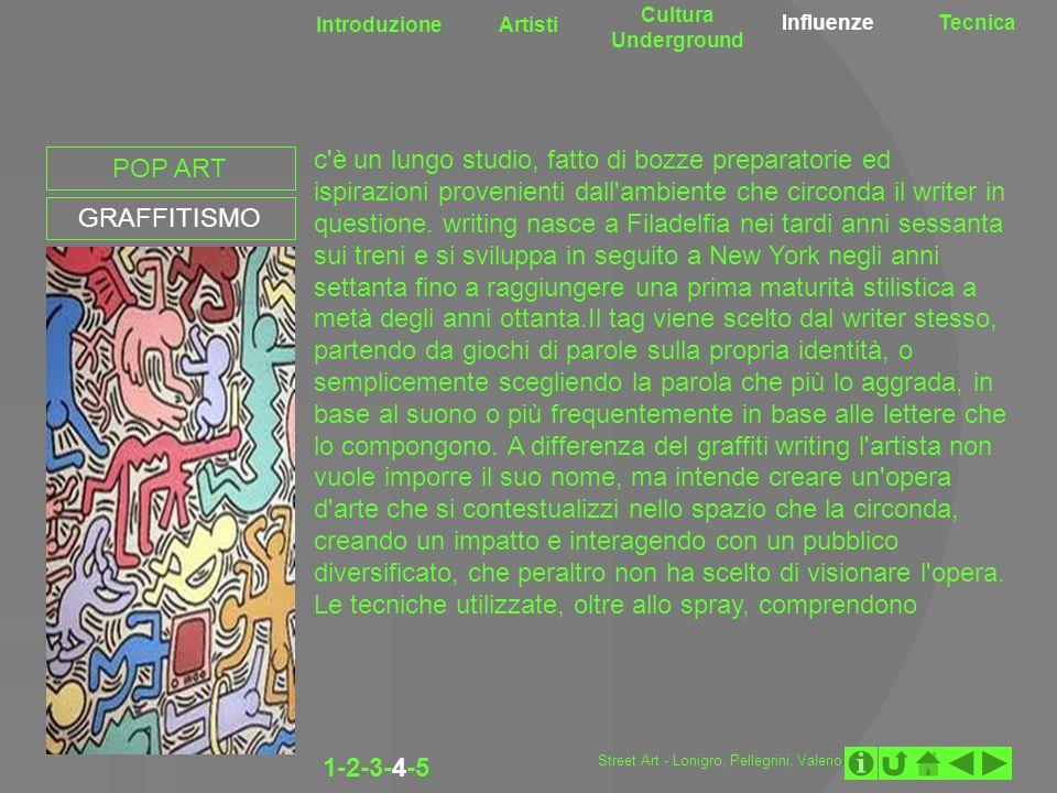 Introduzione Artisti Cultura Underground InfluenzeTecnica POP ART GRAFFITISMO c'è un lungo studio, fatto di bozze preparatorie ed ispirazioni provenie