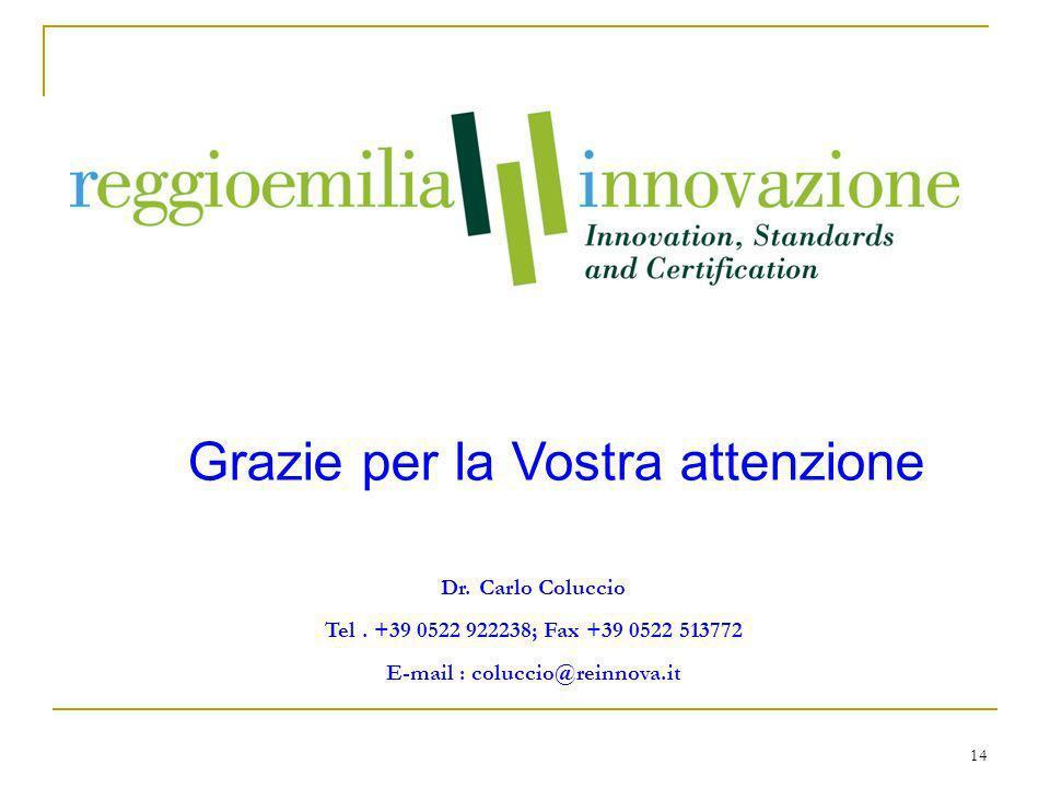 14 Grazie per la Vostra attenzione Dr. Carlo Coluccio Tel.