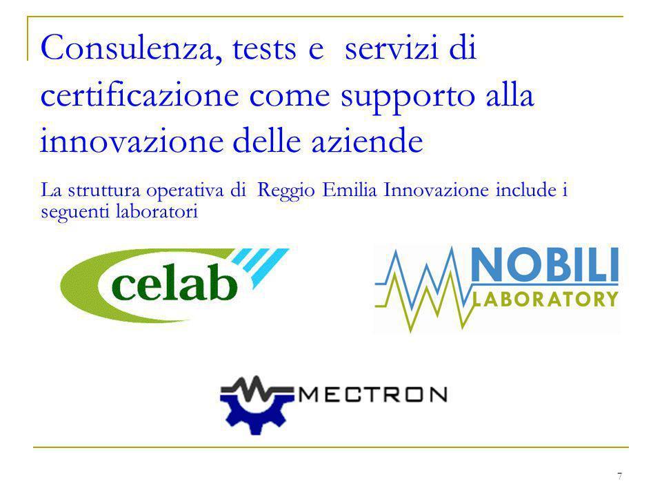 7 Consulenza, tests e servizi di certificazione come supporto alla innovazione delle aziende La struttura operativa di Reggio Emilia Innovazione include i seguenti laboratori