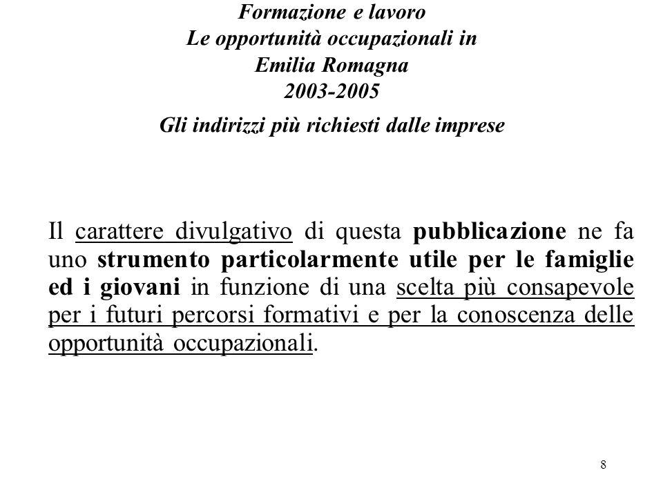 8 Formazione e lavoro Le opportunità occupazionali in Emilia Romagna 2003-2005 Gli indirizzi più richiesti dalle imprese Il carattere divulgativo di q