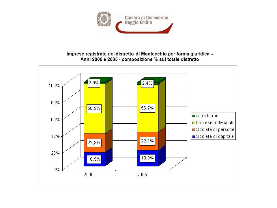 Imprese registrate nel distretto di Montecchio per forma giuridica - Anni 2000 e 2005 - composizione % sul totale distretto