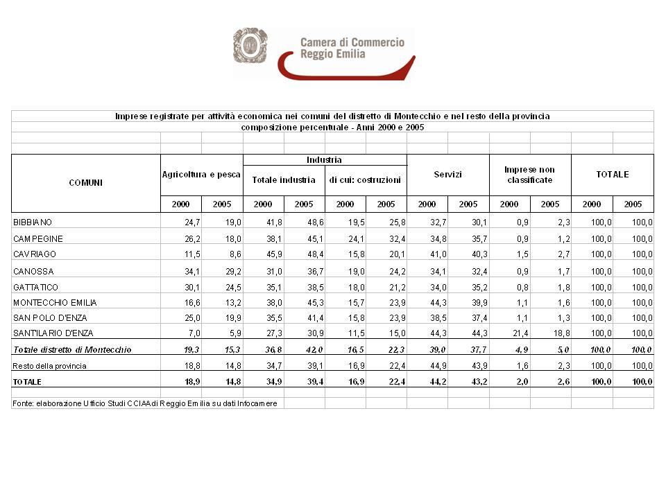 Imprese registrate nel distretto di Montecchio per settori di attività economica - Anni 2000 e 2005 - composizione % sul totale distretto