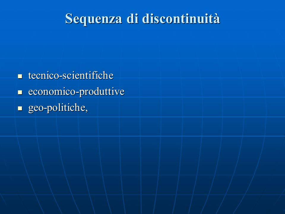 Sequenza di discontinuità tecnico-scientifiche tecnico-scientifiche economico-produttive economico-produttive geo-politiche, geo-politiche,