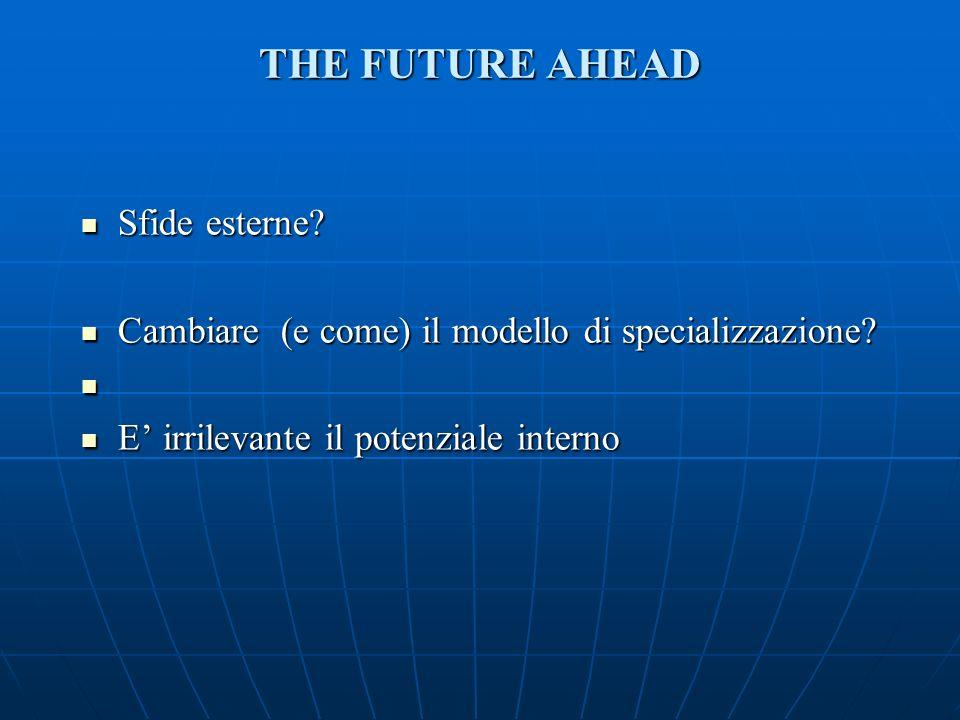 THE FUTURE AHEAD Sfide esterne. Sfide esterne. Cambiare (e come) il modello di specializzazione.
