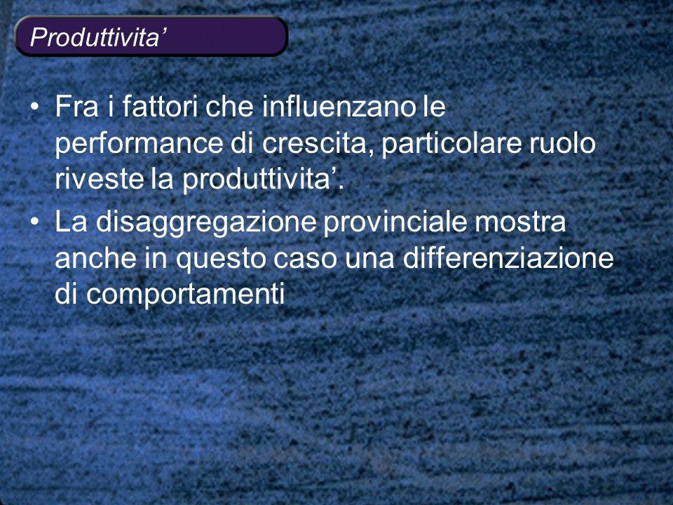 Produttivita Fra i fattori che influenzano le performance di crescita, particolare ruolo riveste la produttivita.
