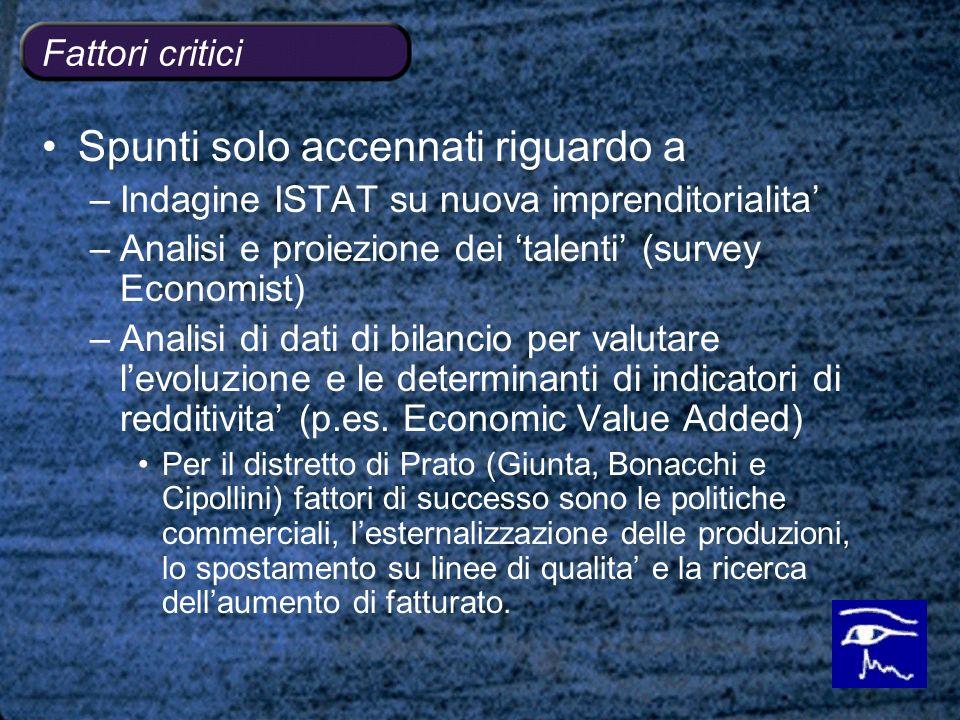 Fattori critici Spunti solo accennati riguardo a –Indagine ISTAT su nuova imprenditorialita –Analisi e proiezione dei talenti (survey Economist) –Anal