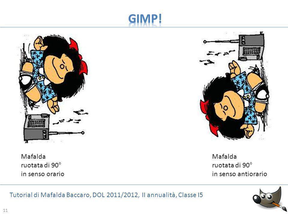 11 Tutorial di Mafalda Baccaro, DOL 2011/2012, II annualità, Classe I5 11 Mafalda ruotata di 90° in senso orario Mafalda ruotata di 90° in senso antio