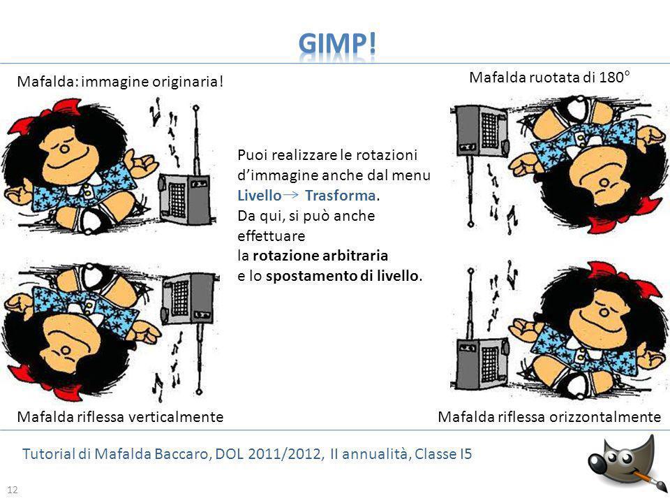 12 Tutorial di Mafalda Baccaro, DOL 2011/2012, II annualità, Classe I5 12 Mafalda ruotata di 180° Mafalda riflessa orizzontalmenteMafalda riflessa ver