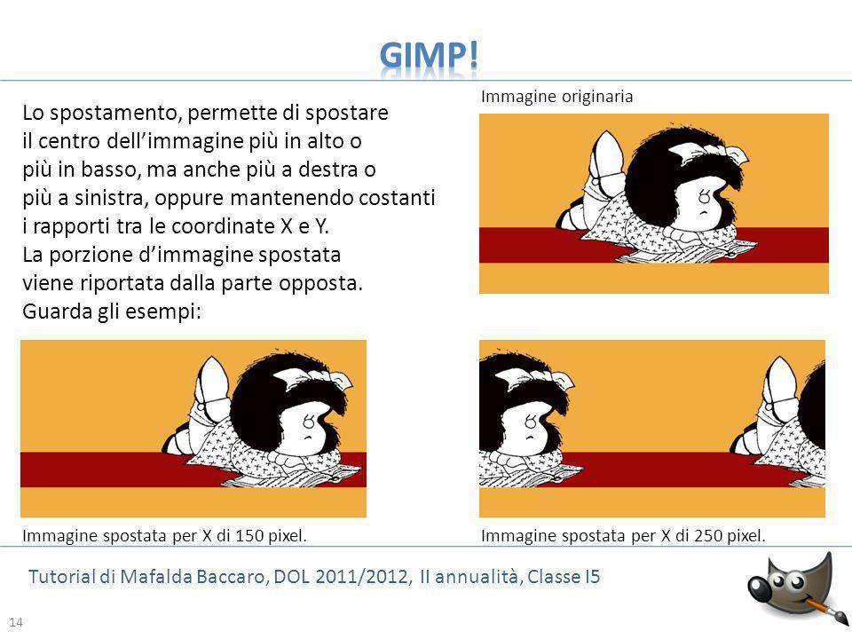 14 Tutorial di Mafalda Baccaro, DOL 2011/2012, II annualità, Classe I5 14 Lo spostamento, permette di spostare il centro dellimmagine più in alto o pi
