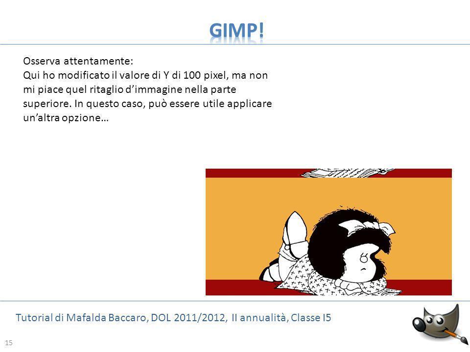 15 Tutorial di Mafalda Baccaro, DOL 2011/2012, II annualità, Classe I5 15 Osserva attentamente: Qui ho modificato il valore di Y di 100 pixel, ma non