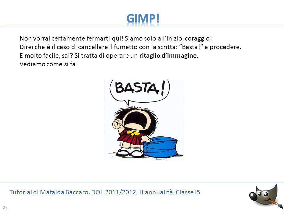 22 Tutorial di Mafalda Baccaro, DOL 2011/2012, II annualità, Classe I5 22 Non vorrai certamente fermarti qui! Siamo solo allinizio, coraggio! Direi ch