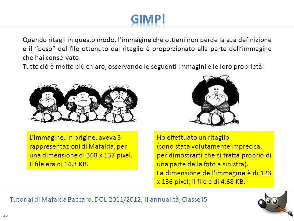 25 Tutorial di Mafalda Baccaro, DOL 2011/2012, II annualità, Classe I5 25 Quando ritagli in questo modo, limmagine che ottieni non perde la sua defini