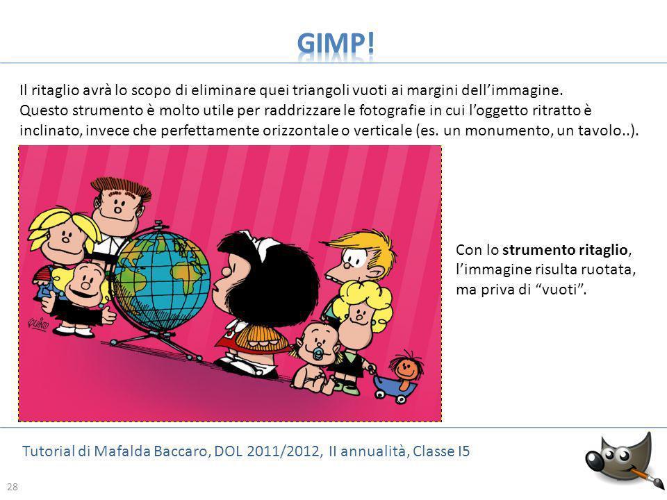 28 Tutorial di Mafalda Baccaro, DOL 2011/2012, II annualità, Classe I5 28 Il ritaglio avrà lo scopo di eliminare quei triangoli vuoti ai margini delli