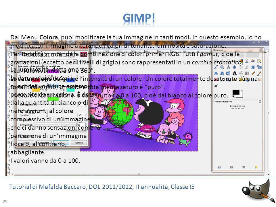 29 Tutorial di Mafalda Baccaro, DOL 2011/2012, II annualità, Classe I5 29 Dal Menu Colora, puoi modificare la tua immagine in tanti modi. In questo es