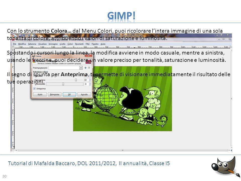 30 Tutorial di Mafalda Baccaro, DOL 2011/2012, II annualità, Classe I5 30 Con lo strumento Colora… dal Menu Colori, puoi ricolorare lintera immagine d
