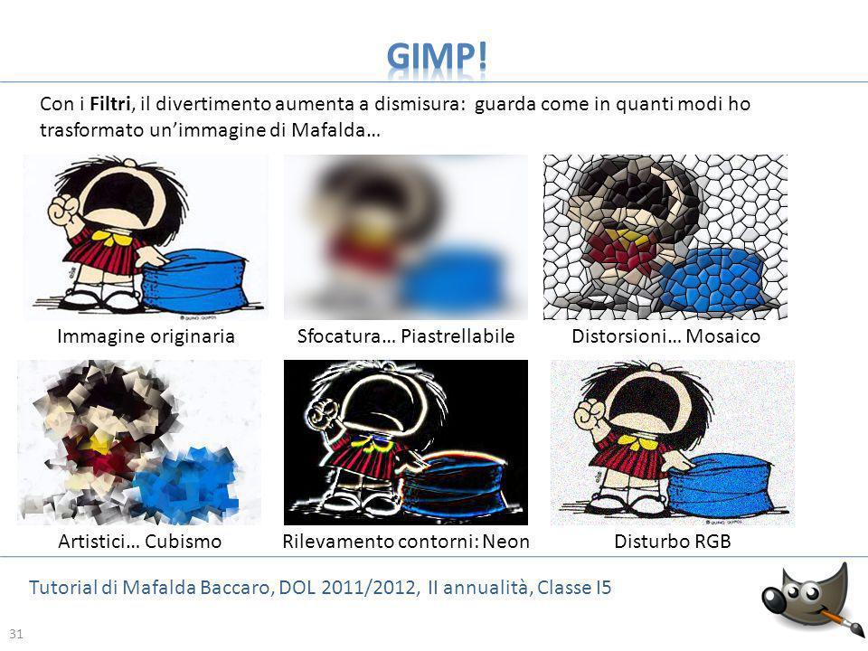 31 Tutorial di Mafalda Baccaro, DOL 2011/2012, II annualità, Classe I5 31 Con i Filtri, il divertimento aumenta a dismisura: guarda come in quanti mod
