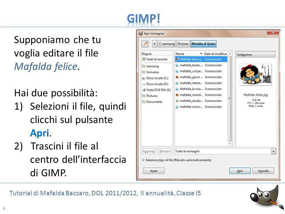 6 Tutorial di Mafalda Baccaro, DOL 2011/2012, II annualità, Classe I5 6 Supponiamo che tu voglia editare il file Mafalda felice. Hai due possibilità: