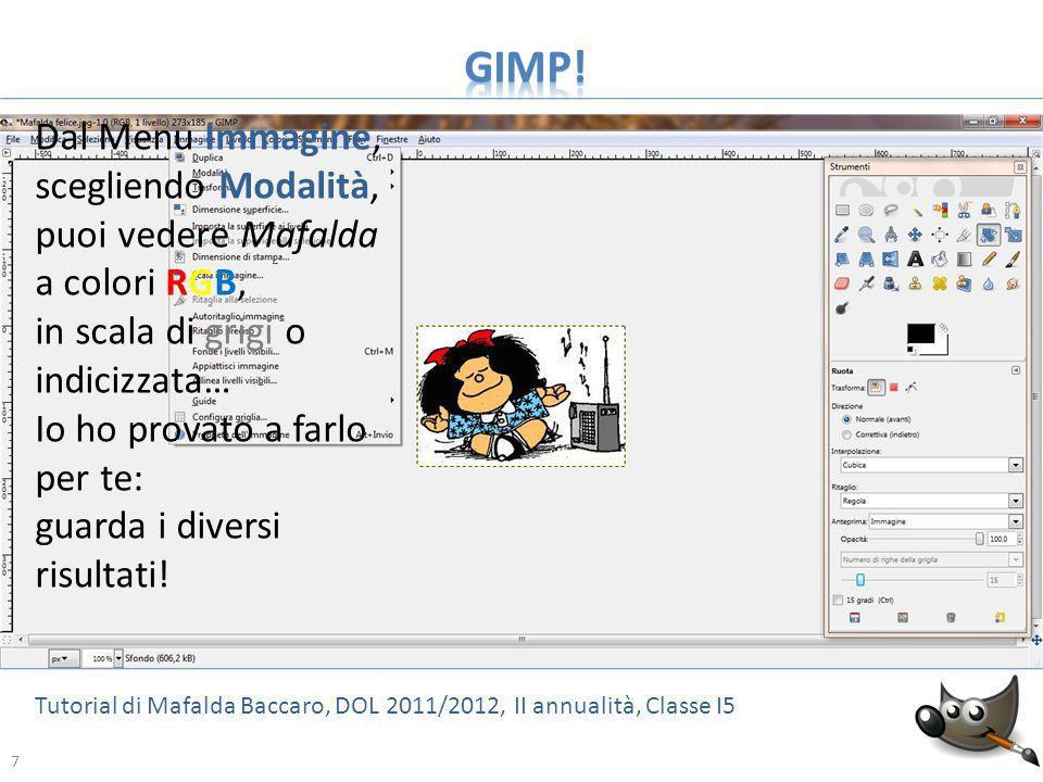 8 Tutorial di Mafalda Baccaro, DOL 2011/2012, II annualità, Classe I5 8 Mafalda in RGB Mafalda in scala di grigi Mafalda indicizzata: usa tavolozza bianco/nero