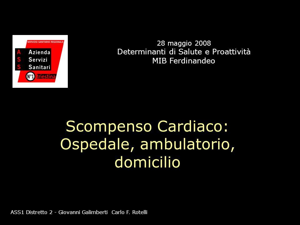 Scompenso Cardiaco: Ospedale, ambulatorio, domicilio ASS1 Distretto 2 - Giovanni Galimberti Carlo F. Rotelli 28 maggio 2008 Determinanti di Salute e P