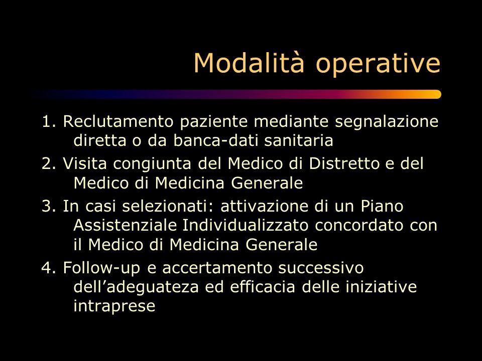 Modalità operative 1. Reclutamento paziente mediante segnalazione diretta o da banca-dati sanitaria 2. Visita congiunta del Medico di Distretto e del