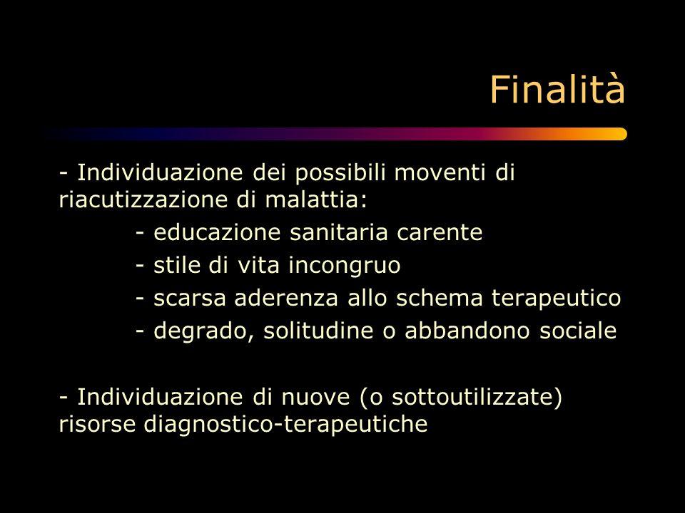 Finalità - Individuazione dei possibili moventi di riacutizzazione di malattia: - educazione sanitaria carente - stile di vita incongruo - scarsa ader