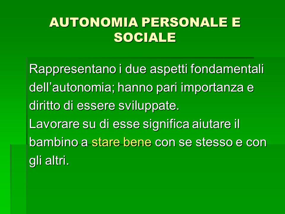 AUTONOMIA PERSONALE E SOCIALE Rappresentano i due aspetti fondamentali dellautonomia; hanno pari importanza e diritto di essere sviluppate.