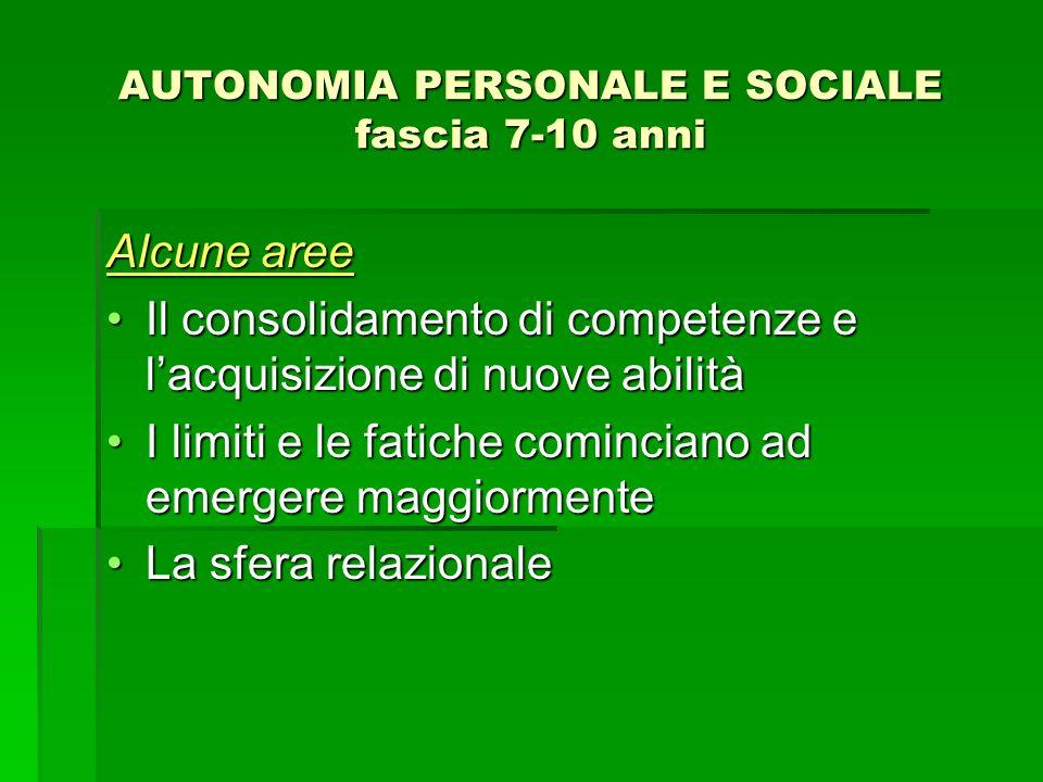 AUTONOMIA PERSONALE E SOCIALE fascia 7-10 anni Alcune aree Il consolidamento di competenze e lacquisizione di nuove abilitàIl consolidamento di compet