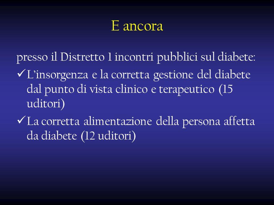 E ancora presso il Distretto 1 incontri pubblici sul diabete: Linsorgenza e la corretta gestione del diabete dal punto di vista clinico e terapeutico