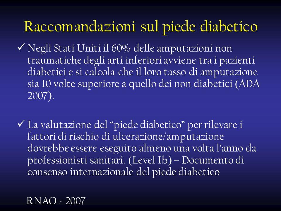 Raccomandazioni sul piede diabetico Negli Stati Uniti il 60% delle amputazioni non traumatiche degli arti inferiori avviene tra i pazienti diabetici e