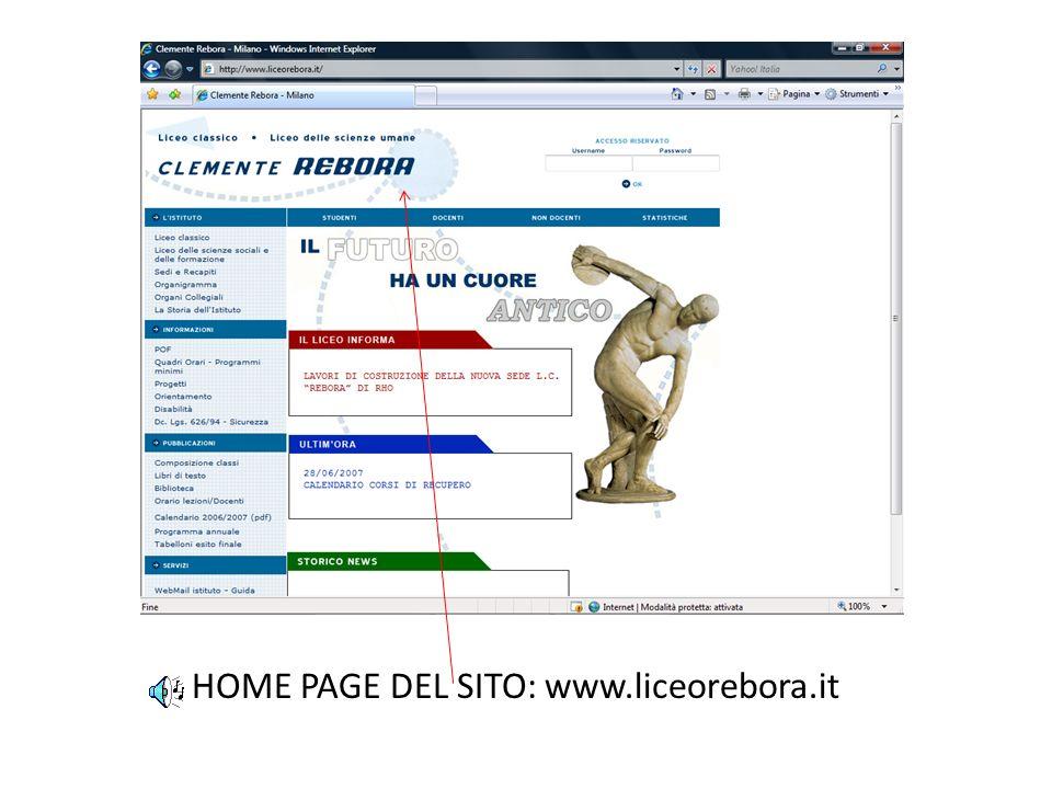 HOME PAGE DEL SITO: www.liceorebora.it