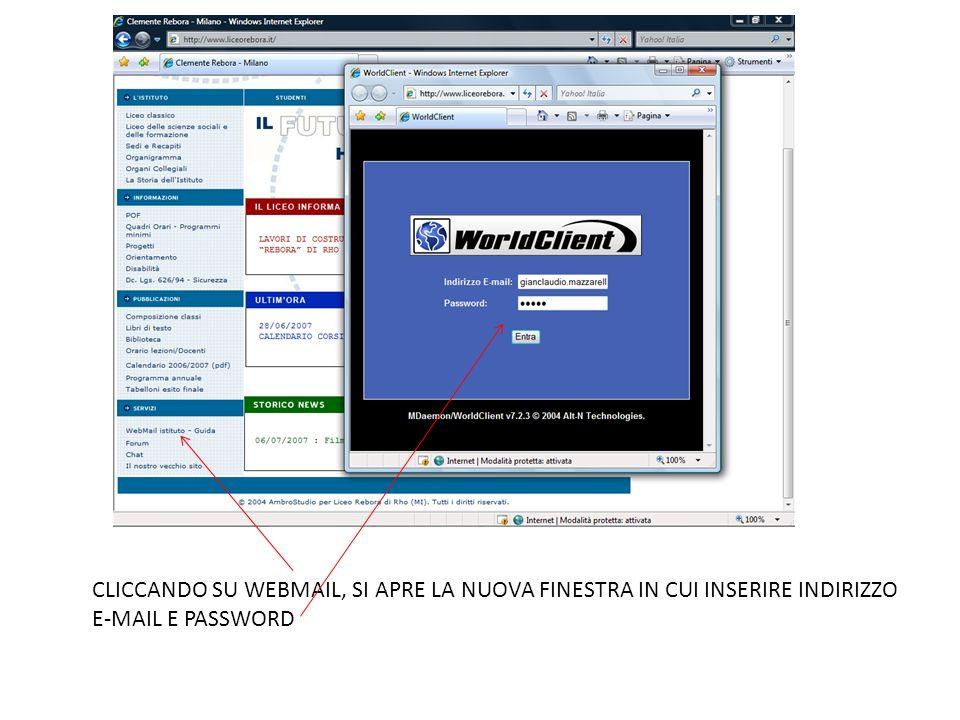 CLICCANDO SU WEBMAIL, SI APRE LA NUOVA FINESTRA IN CUI INSERIRE INDIRIZZO E-MAIL E PASSWORD