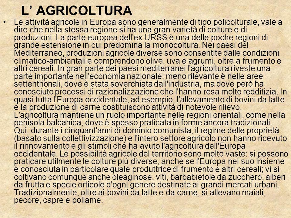 L AGRICOLTURA Le attività agricole in Europa sono generalmente di tipo policolturale, vale a dire che nella stessa regione si ha una gran varietà di colture e di produzioni.