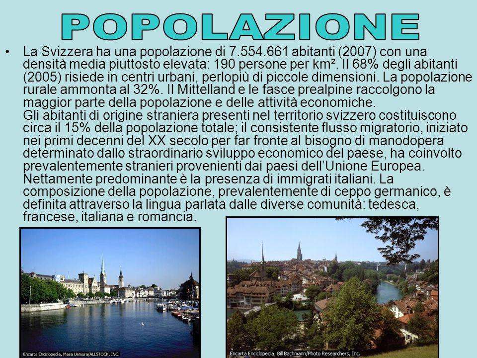 La Svizzera ha una popolazione di 7.554.661 abitanti (2007) con una densità media piuttosto elevata: 190 persone per km².