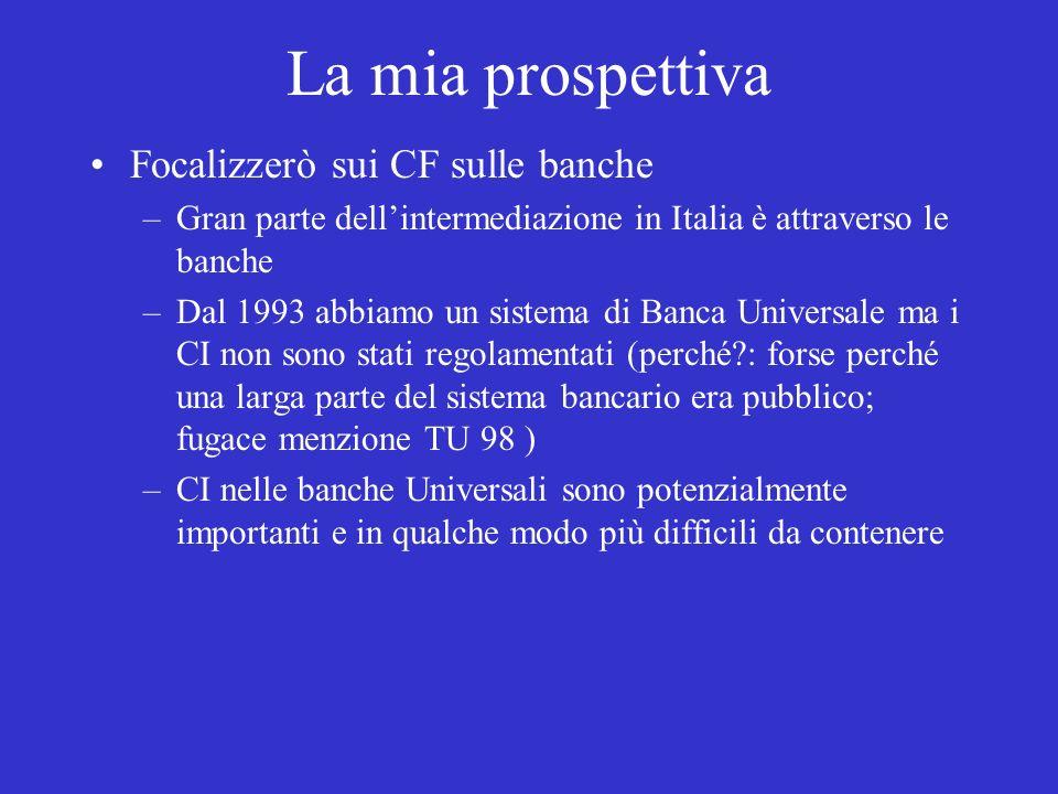 La mia prospettiva Focalizzerò sui CF sulle banche –Gran parte dellintermediazione in Italia è attraverso le banche –Dal 1993 abbiamo un sistema di Banca Universale ma i CI non sono stati regolamentati (perché : forse perché una larga parte del sistema bancario era pubblico; fugace menzione TU 98 ) –CI nelle banche Universali sono potenzialmente importanti e in qualche modo più difficili da contenere