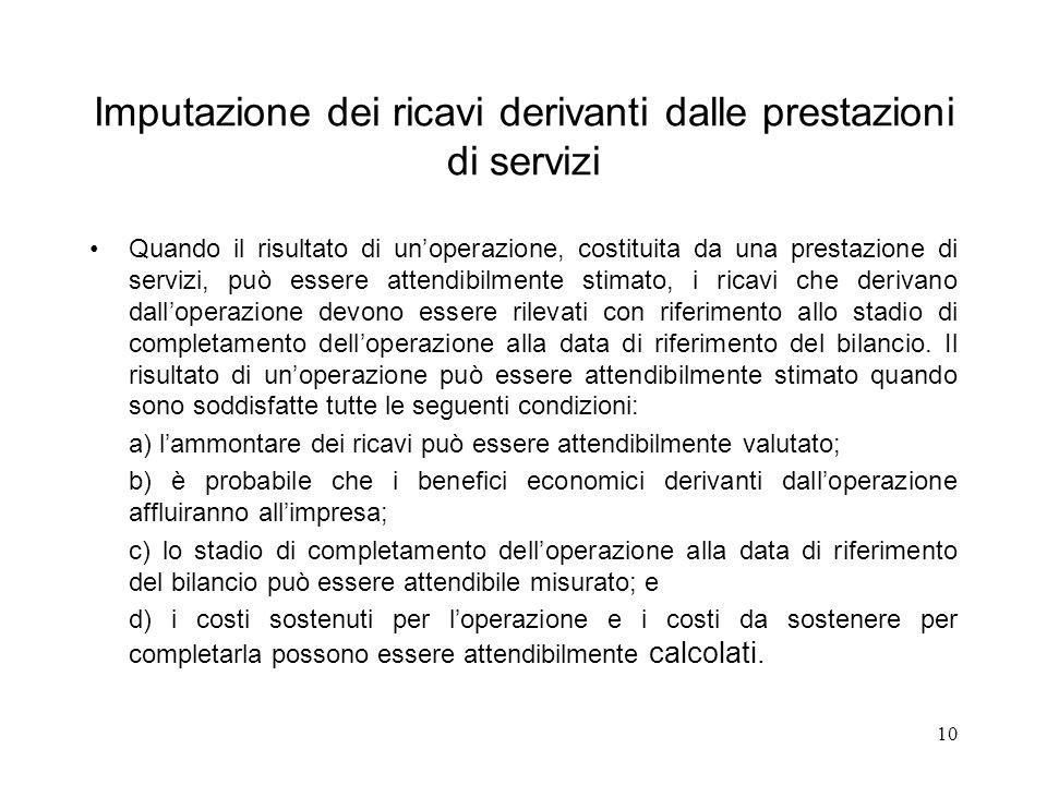 10 Imputazione dei ricavi derivanti dalle prestazioni di servizi Quando il risultato di unoperazione, costituita da una prestazione di servizi, può es