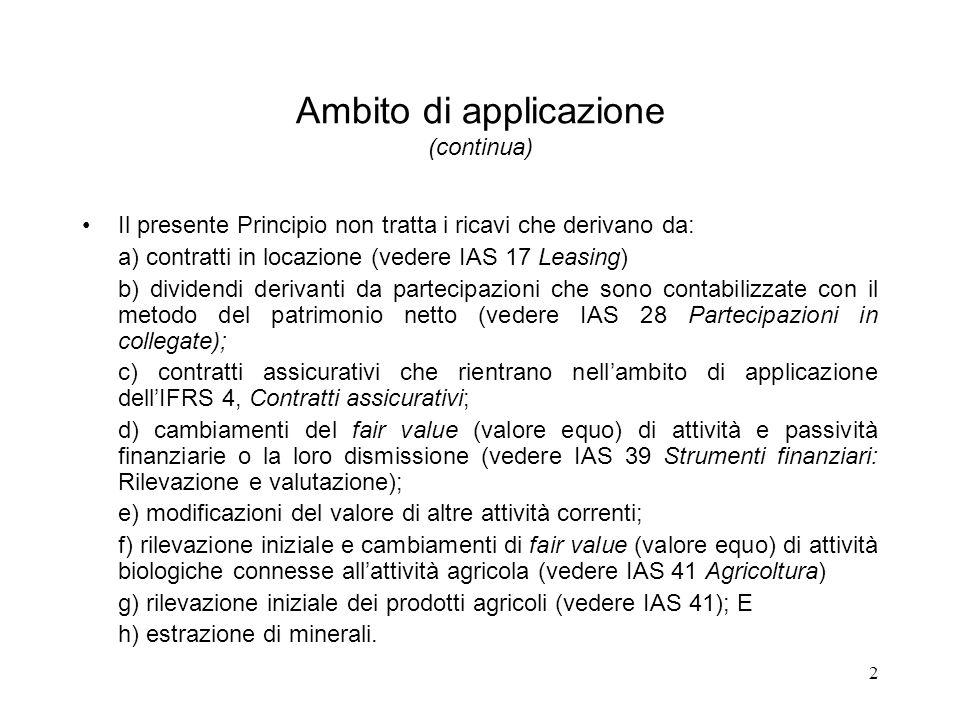 2 Ambito di applicazione (continua) Il presente Principio non tratta i ricavi che derivano da: a) contratti in locazione (vedere IAS 17 Leasing) b) di