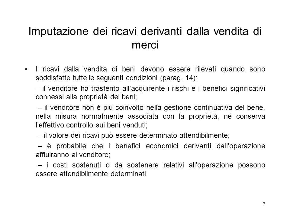 7 Imputazione dei ricavi derivanti dalla vendita di merci I ricavi dalla vendita di beni devono essere rilevati quando sono soddisfatte tutte le segue