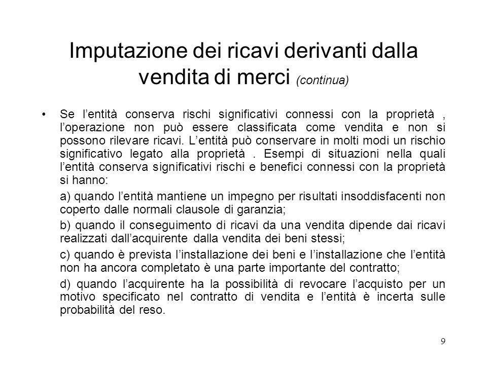 9 Imputazione dei ricavi derivanti dalla vendita di merci (continua) Se lentità conserva rischi significativi connessi con la proprietà, loperazione non può essere classificata come vendita e non si possono rilevare ricavi.
