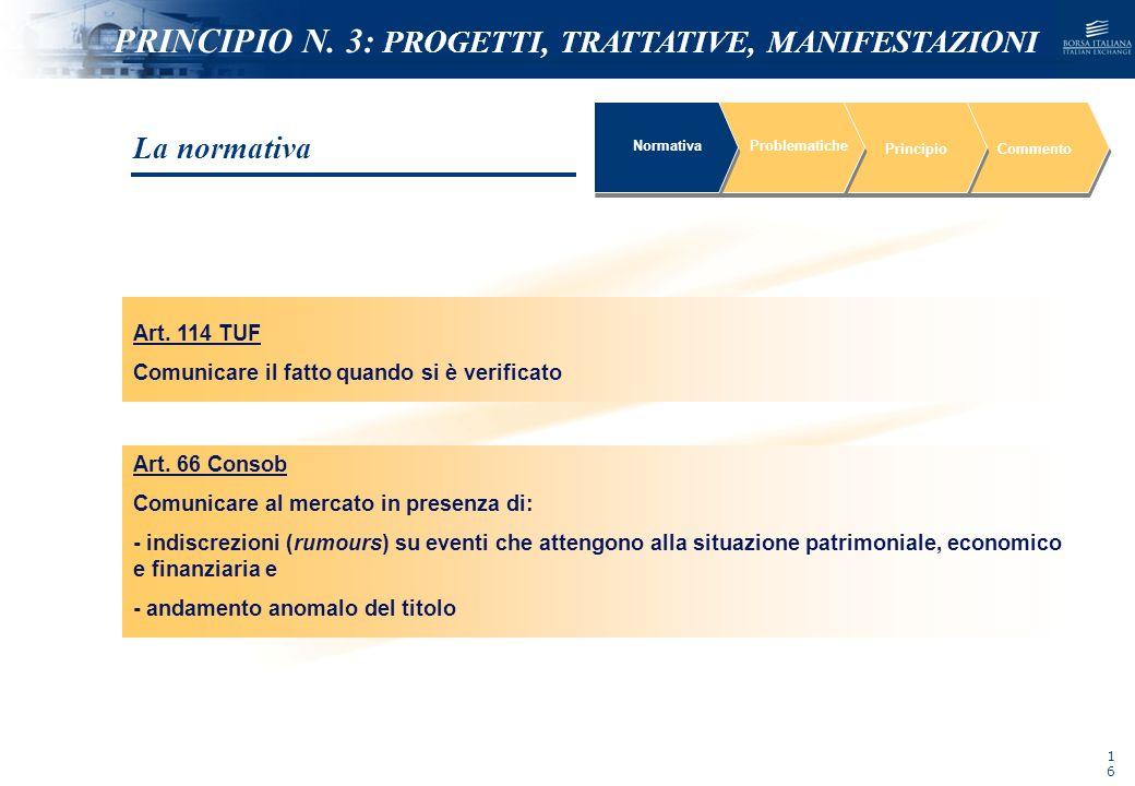 NOMEFILE_DATA_DIPARTIMENTO Art. 114 TUF Comunicare il fatto quando si è verificato NormativaProblematiche PrincipioCommento Art. 66 Consob Comunicare