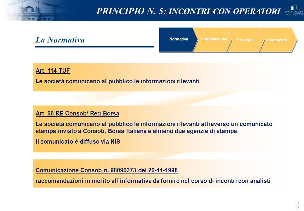 NOMEFILE_DATA_DIPARTIMENTO NormativaProblematiche PrincipioCommento Art. 114 TUF Le società comunicano al pubblico le informazioni rilevanti Art. 66 R
