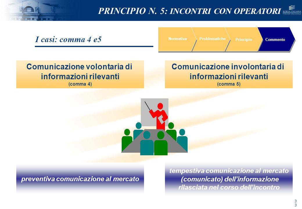 NOMEFILE_DATA_DIPARTIMENTO NormativaProblematiche PrincipioCommento Comunicazione volontaria di informazioni rilevanti (comma 4) preventiva comunicazi