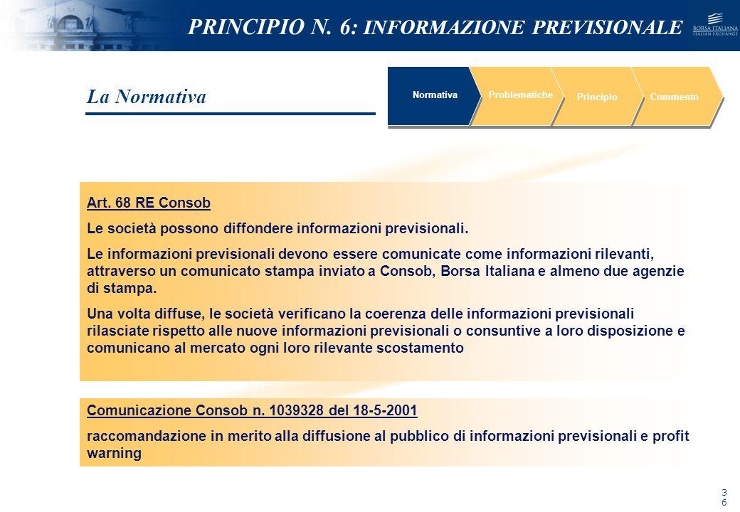 NOMEFILE_DATA_DIPARTIMENTO NormativaProblematiche PrincipioCommento Art. 68 RE Consob Le società possono diffondere informazioni previsionali. Le info
