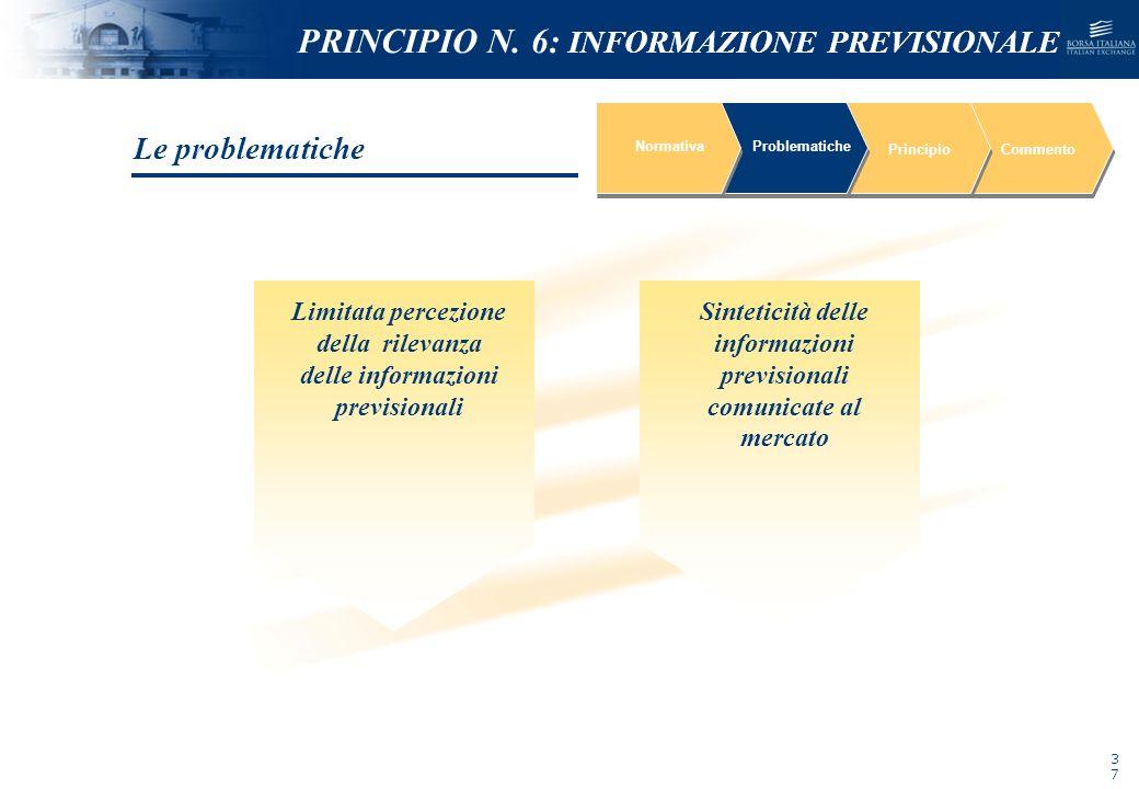 NOMEFILE_DATA_DIPARTIMENTO NormativaProblematiche PrincipioCommento Sinteticità delle informazioni previsionali comunicate al mercato Limitata percezi