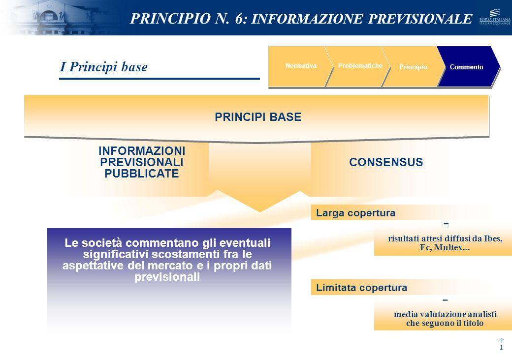 NOMEFILE_DATA_DIPARTIMENTO NormativaProblematiche PrincipioCommento PRINCIPI BASE INFORMAZIONI PREVISIONALI PUBBLICATE CONSENSUS I Principi base PRINC