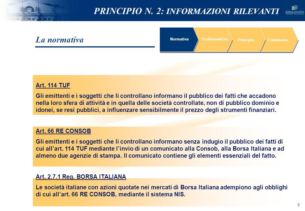 NOMEFILE_DATA_DIPARTIMENTO PRINCIPIO N. 2: INFORMAZIONI RILEVANTI Art. 114 TUF Gli emittenti e i soggetti che li controllano informano il pubblico dei