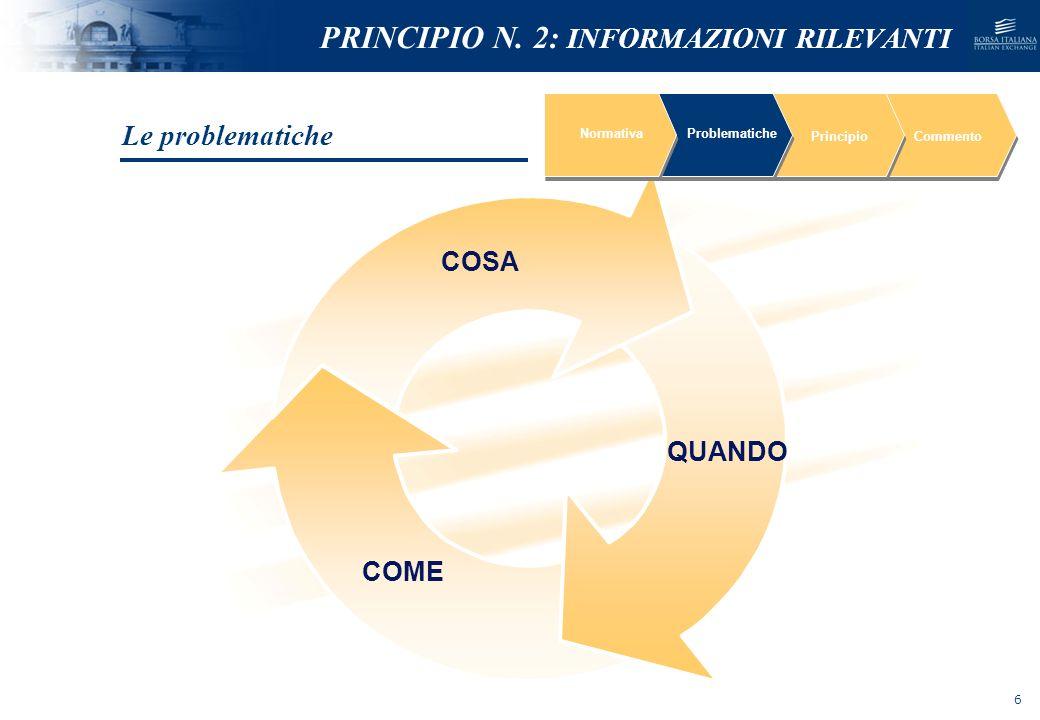 NOMEFILE_DATA_DIPARTIMENTO NormativaProblematiche PrincipioCommento Sinteticità delle informazioni previsionali comunicate al mercato Limitata percezione della rilevanza delle informazioni previsionali Le problematiche PRINCIPIO N.