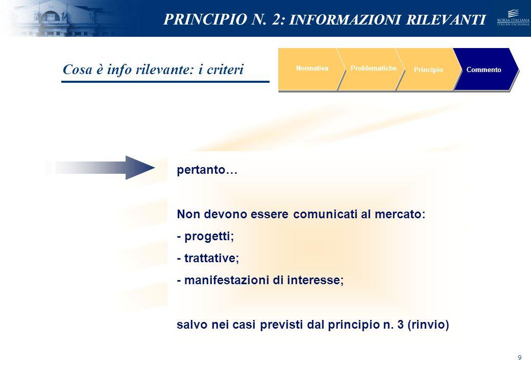 NOMEFILE_DATA_DIPARTIMENTO REVISIONE STIME se emergono scostamenti significativi NormativaProblematiche PrincipioCommento PRINCIPI BASE INFORMAZIONI PREVISIONALI PUBBLICATE RISULTATI CONSUNTIVI e/o NUOVE PREVISIONI Immediata comunicazione al mercato Comunicato stampa contenente la nuova stima*e precisando le motivazioni che hanno indotto alla revisione * Anche prima che il nuovo dato previsionale sia disponibile I Principi base PRINCIPIO N.